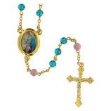 ファティマ42 天の元后ロザリオ Devotional rosaries Queen Mary rosary with turquoise glass beads 6 mm - Faith Collection 42/47