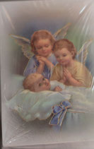 ご絵 ミニ 6.7×4、5センチ 金箔押し 天使と赤ちゃん E-8 紙裏白