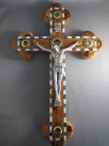 イスラエル オリーブ十字架聖品入り 特大38センチ 貝象嵌 金属ボディ