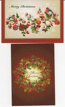 クリスマスカード2×2枚セット  リース&オーナメント 日本語