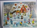 ミニアドベントカレンダー 定型 封筒つき カード 雪あそび