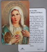 イタリア プラ箔押しカード RCC 1 Heart of Mary 8.3×5.5センチ 裏面英語祈り