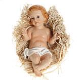イタリア ご像 わらの上に横たわっている赤ん坊のイエスの置物 樹脂10センチ