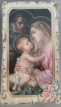 イタリア ご絵 VINCH Sacra Famiflla  11 12.2×6.7センチ 大判飾り縁 箔押しエンボス加工 紙裏白