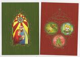 10015 クリスマスカード ステンドグラス赤 緑