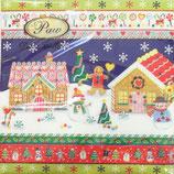 ヨーロッパ高級紙ナプキン 夜のクリスマスハウス 71100