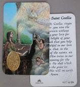 イタリア プラ箔押しカード RCC 62 聖セシリア 8.3×5.5センチ 裏面英語祈り
