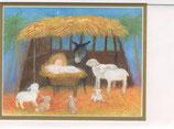 Caspari 英語 クリスマスカード 定型小型 馬小屋のおさなご