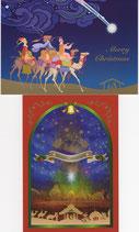 クリスマスカード2×2枚セット  聖夜&三賢人 日本語