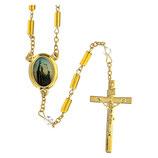 ファティマ45 聖教皇のロザリオ Devotional rosaries Holy Popes rosary with 4 mm gilded glass cylinder beads - Faith Collection 45/47