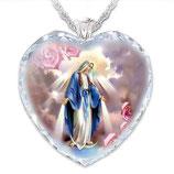 クリスタルペンダント ハート 紫 無原罪の聖母