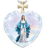 クリスタルペンダント ハートクロス 青 無原罪の聖母