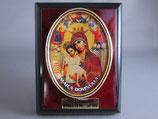 イタリアイコン 卓上丸窓 9×7×2センチ 聖母子赤