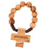 エルサレム 一連ロザリオ8ミリ珠 オリーブ&木製クロス