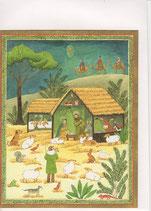 Caspari 英語 クリスマスカード 定型小型 馬小屋と動物達