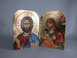正教 手彫り イコン 見開き10×13センチ木製
