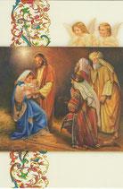 イタリア製 クリスマスカード 定型 聖家族と三賢人 220-20