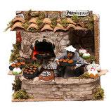 イタリア クリスマス飾り オーブン、キャラクタームーブメントライト、12cmのキリスト降誕を備えたベーカリーショップの設定