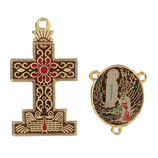 イタリア RO019148 ロザリオセンターピース&クロスセット ルルドの聖母