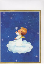 Caspari 英語 86012 夜空の星とキッス クリスマスカード
