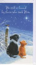 英語 定型 クリスマスカード 子犬と子猫