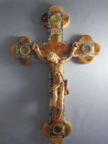 イスラエル オリーブ聖品十字架飾り33センチ木製ボディ 貝象嵌 4種聖品