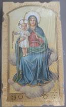 イタリア ご絵 Eucaristina 001 ロザリオの聖母子 10.7×6センチ 飾り縁箔押し 紙裏白