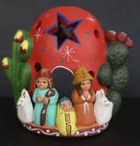 ペルー アヤクーチョ 素焼きご降誕 降誕キャンドルホルダー赤
