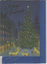 クリスマスカード 日本語 定型小型 広場にツリーとマーケット