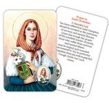 イタリア 聖ディンプナ(鬱や精神病の守護者)メダイつきカード 英語祈り