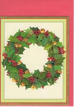 Caspari 英語 クリスマスカード 定型小型 鈴のリース