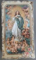 イタリア ご絵 VINCH Assunzione 14 12.2×6.7センチ 大判飾り縁 箔押しエンボス加工 紙裏白