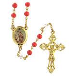 ファティマ7 カルメルの聖母のロザリオ  Devotional rosaries Rosary Our Lady of Mt. Carmine with coral glass beads 6 mm - Faith Collection 7/47