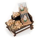 イタリア クリスマス飾り 卵と鶏のテラコッタが付いたナポリのセットアクセサリースタンド
