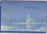 クリスマスカード 日本語 定型 湖畔の教会