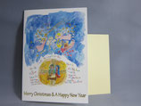 女子パウロ会 クリスマスカード 定型 水彩風 世界の言葉で祝福
