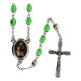 ファティマ11 箱入りロザリオ 聖ヨセフ Devotional rosaries Saint Joseph rosary with green glass beads 6 mm - Faith Collection 11/47
