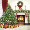 ヨーロッパ高級紙ナプキン  暖炉とツリー 080100