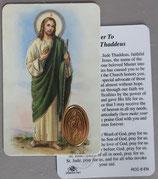 イタリア プラ箔押しカード RCC 8 聖ユダ タダイ  8.3×5.5センチ 裏面英語祈り