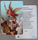 イタリア プラ箔押しカード RCC 70 聖ミカエル戦争の守り 8.3×5.5センチ 裏面英語祈り
