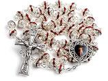 ロザリオ いつくしみのイエス5連 赤 ロザリオ  R1298 シャイン7ミリ珠