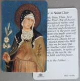 イタリア プラ箔押しカード RCC 116 聖キアラ 8.3×5.5センチ 裏面英語祈り
