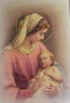 ご絵 ミニ 6.7×4、5センチ 金箔押し 聖母子 E-7 紙裏白