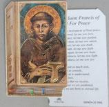 イタリア プラ箔押しカード GENOA聖書型 13 アッシジの聖フランシスコ 8.5×5.5センチ 裏面英語祈り