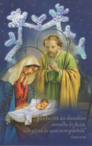 イタリア製 クリスマスカード 定型 聖家族ブルー 350 180-3