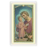 パウチカードイタリア 2385 Santino San Giuseppe Lavoratore e Gesù al tavolo da lavoro Preghiera ITA 10x5