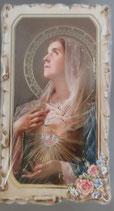 イタリア ご絵 VINCH Sacro Cuore Maria 02 12.2×6.7センチ 大判飾り縁 箔押しエンボス加工 紙裏白