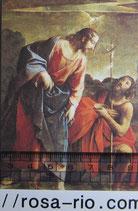 ご絵 洗礼 洗礼者ヨハネとイエス 12×7㎝ 紙裏白