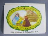 女子パウロ会 クリスマスカード 定型 ちぎりえ風 牛と馬が見守る中で