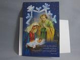 イタリア製 クリスマスカード 定型 聖家族ブルー 350